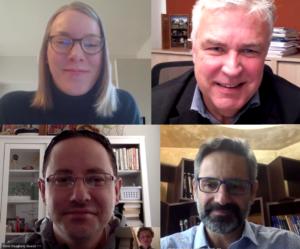 Sabrina Heinecke (IKEM) führte die Interviews für die Just Transition Studie mit Dr. Klaus Freytag, Lefteris Ioannidis und Dennis Dougherty.