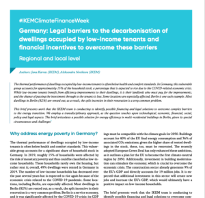#IKEMClimateFinanceWeek: Germany - Legal barriers to the decarbonisation of dwellings occupied by low-income tenants and financial incentives to overcome these barriers