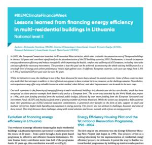 #IKEMClimateFinanceWeek: Lessons learned from financing energy efficiency in multi-residential buildings in Lithuania